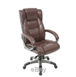 Leather High-Back Chair Executive Comfortable Brown Office Home Desk Computer