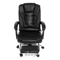 Leather Massage Office Chair Executive Computer Recliner Gaming Footrest Leather