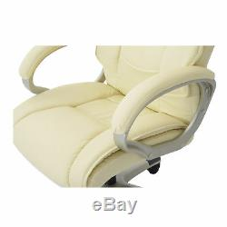 Leather Office Chair PC Computer Desk Chairs Swivel Adjustable Height Cream