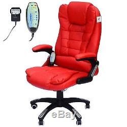 Leather Office Chair PC Furniture Red Modern Massage Home Seat Heat Rocking
