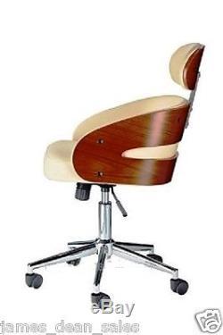 Leather Office Chair Swivel Tub Desk Armchair Modern Home Cream White Furniture