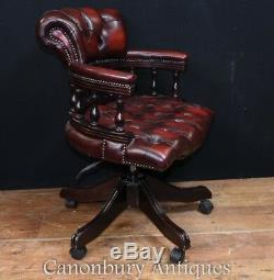 Leather Office Swivel Seat Captains Desk Chair