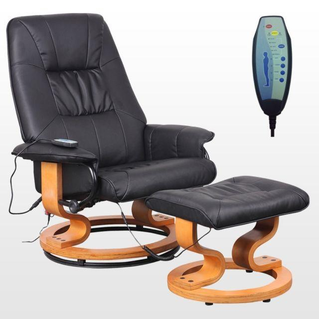 Leather Reclining Massage Chair Armchair Stool Swivel Recliner Home Office