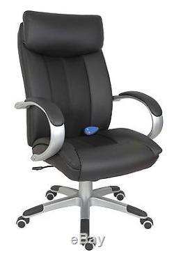 Leather Shiatsu Massage Executive Office Computer Swivel Chair in Black
