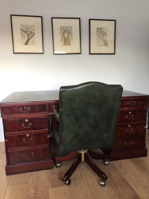 Leather Top Antique / Vintage Desk + Matching Leather Swivel Office Chair