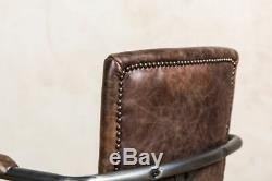 Leather Vintage Style Office Chair Desk Chair With Wheels 2 Colours