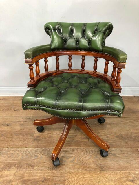 Leather Captains Swivel Desk Chair
