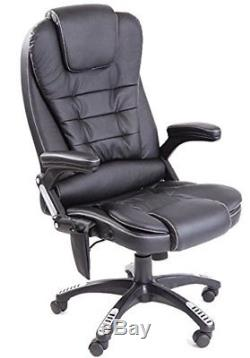 Leather high back reclining office desk chair with massage and heat Black