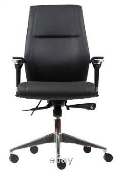 London Black Leather Computer Executive Managers Office Swivel Chair Graded 95%