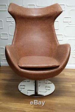 Lounge office Swivel Arm Chair Vintage Brown egg shape