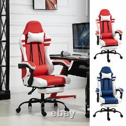 Luxe PU Leather Gaming Office Chair with Footrest Wheels Reclining Back Red/ Blue