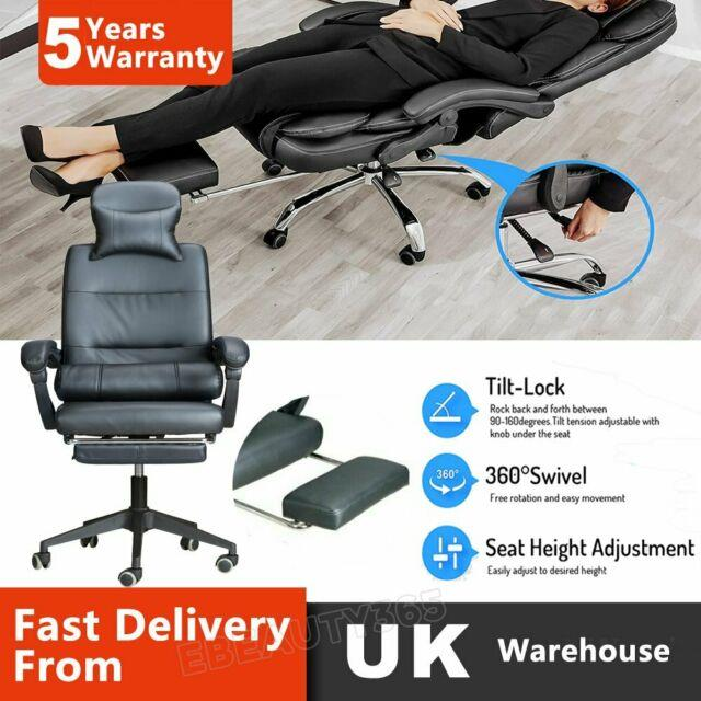 Luxury Computer Chair Office Gaming Swivel Recliner Leather Executive Footrest