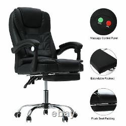 Luxury Computer Massage Chair Office Gaming Swivel Recliner Leather Executive UK