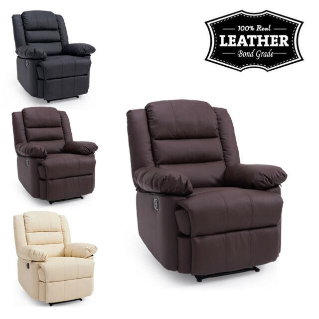 Luxury Faux Leather Recliner Armchair Sofa Lounge Chair Reclining Gaming Office