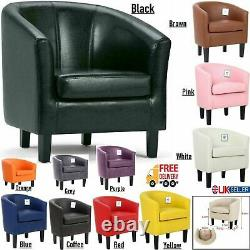 Luxury Faux Leather Tub Chair Armchair Sofa Seat For Dining Living Room Office