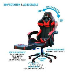 Luxury Gaming Desk Home Office Chair Recliner Leather Swivel Tilt With Footrest