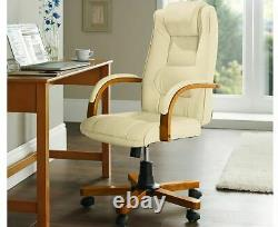 Luxury Leather Office Chair Padded Gas Lift Seat Adjustable Reclining Seat
