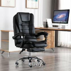 Luxury PU Leather Computer Office Desk Gaming Chair Swivel Recliner withFootrest