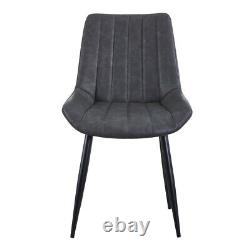 Luxury Pair of 2 Home Office Chairs Grey Dining Kitchen Chairs Upholstered Chair