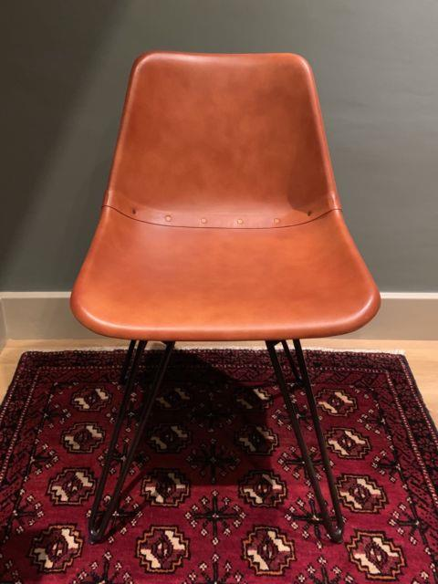 Made. Com Kendal Office/desk Swivel Chair, Tan Leather Withblack Metal Legs