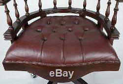 Mahogany Red/brown Leather Chesterfield Swivel Captains Office Chair Button Back