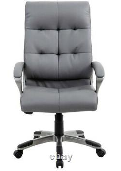 Maine Grey Bonded Leather Executive Padded Computer Office Task Chair Graded 95%