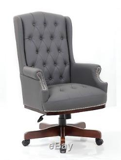 Managers Directors Chesterfield Antique Style Pu Leather Office Desk Chair