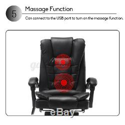 Massage Executive Office Chair Gaming Computer Desk with Footrest Recliner Leather