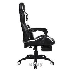 Massage Gaming Chair Office Computer Laptop Desk PU Leather with Footrest 150kg