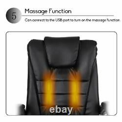 Massage Office Chair Executive Swivel Computer Gaming Chair Footrest PU Leather