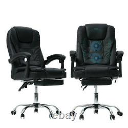 Massage Office Chair Gaming Computer Desk Chairs with Footrest Recliner Leather UK