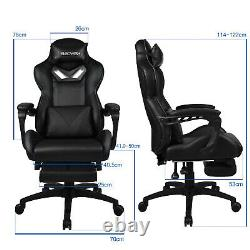 Massage Racing Gaming Chair Adjustable Recliner Swivel PU Leather Office Home UK
