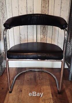 Mid Century Modern retro Evertaut 1970's tubular leather office style armchair