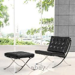 Mid-Century Office Fold Chair Leather Lounge Chair Ottoman Vintage Black Garden