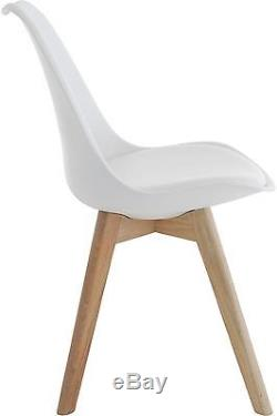 Mmilo Tulip Dining Office Chair with Solid Wood Legs & Leather Cushion Set of 4