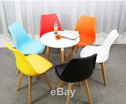 Mmilo set of 4 Tulip Dining/Office Chair with Leather Cushion & Solid Wood Legs