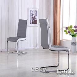 Modern 4 X Gray and White High Back Office Chairs Dining Chair With Chrome Legs