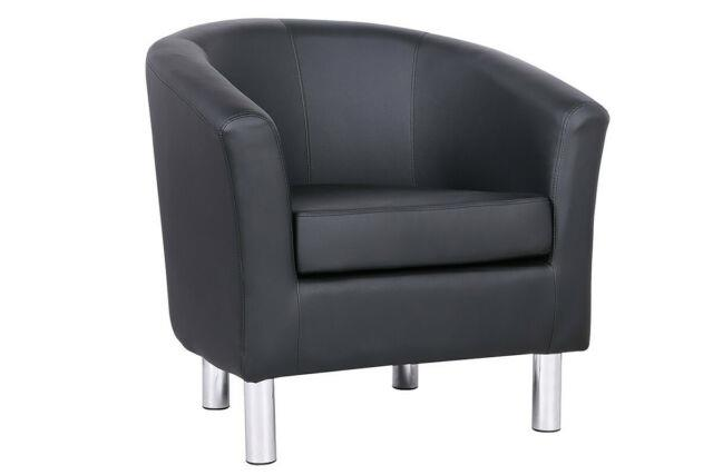Modern Black Faux Leather Tub Chair Home Work Reception Office Bucket Armchair