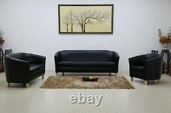 Modern Bucket Tub Sofa Chair Set Faux Leather 3 2 1 Seater Office Reception Room