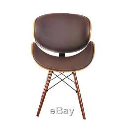 Modern Chair Leather Pair Set 2 Mid Century Seat Dining Brown Vintage Style