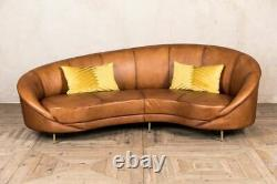 Modern Design Kidney Shaped Curved Real Leather Sofa For Living Room, Office