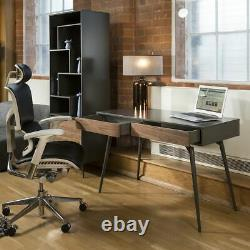 Modern Ergonomic Executive Office Chair Black Bonded Leather Headrest