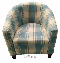Modern Fabric Upholstered Tartan Tub Chair Sofa Armchair Dining Living Office
