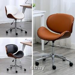 Modern PU Leather Swivel Desk Chair Home Office Seat with Classic Wood Veneer
