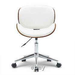 Modern PU Leather Swivel Desk Chair Wood Veneer Home Office Seat Classic Beige