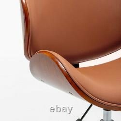 Modern PU Leather Swivel Desk Chair Wood Veneer Home Office Seat Classic Brown