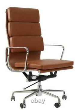 Modern Style High Back Soft Pad Leather Office Chair Tan Brown