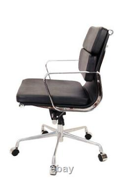 Modern Style Low Back Soft Pad Leather Office Chair Black