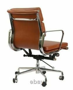 Modern Style Low Back Soft Pad Leather Office Chair Tan Brown