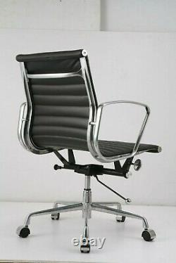 Modern Style Low Back Thin Pad Leather Office Chair Black